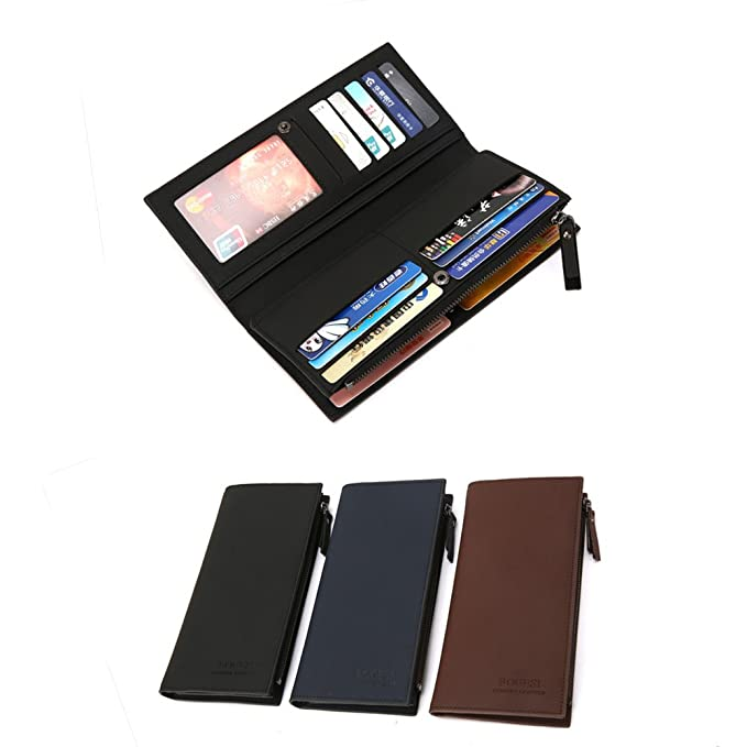 50062833fe6b Men's Leather Long Wallets, Wallet with Money Clip Multi Card Holder ...