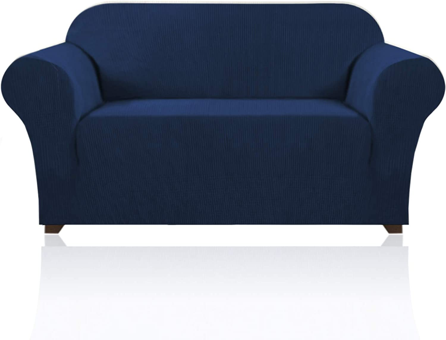 Stretch Sofa Slipcover 1 Piece Sofa Cover for 2 Cushion Couch Furniture Protector/Cover Couch with Elastic Bottom Soft and Durable Sofa Cover Pet Protector (Loveseat, Navy)