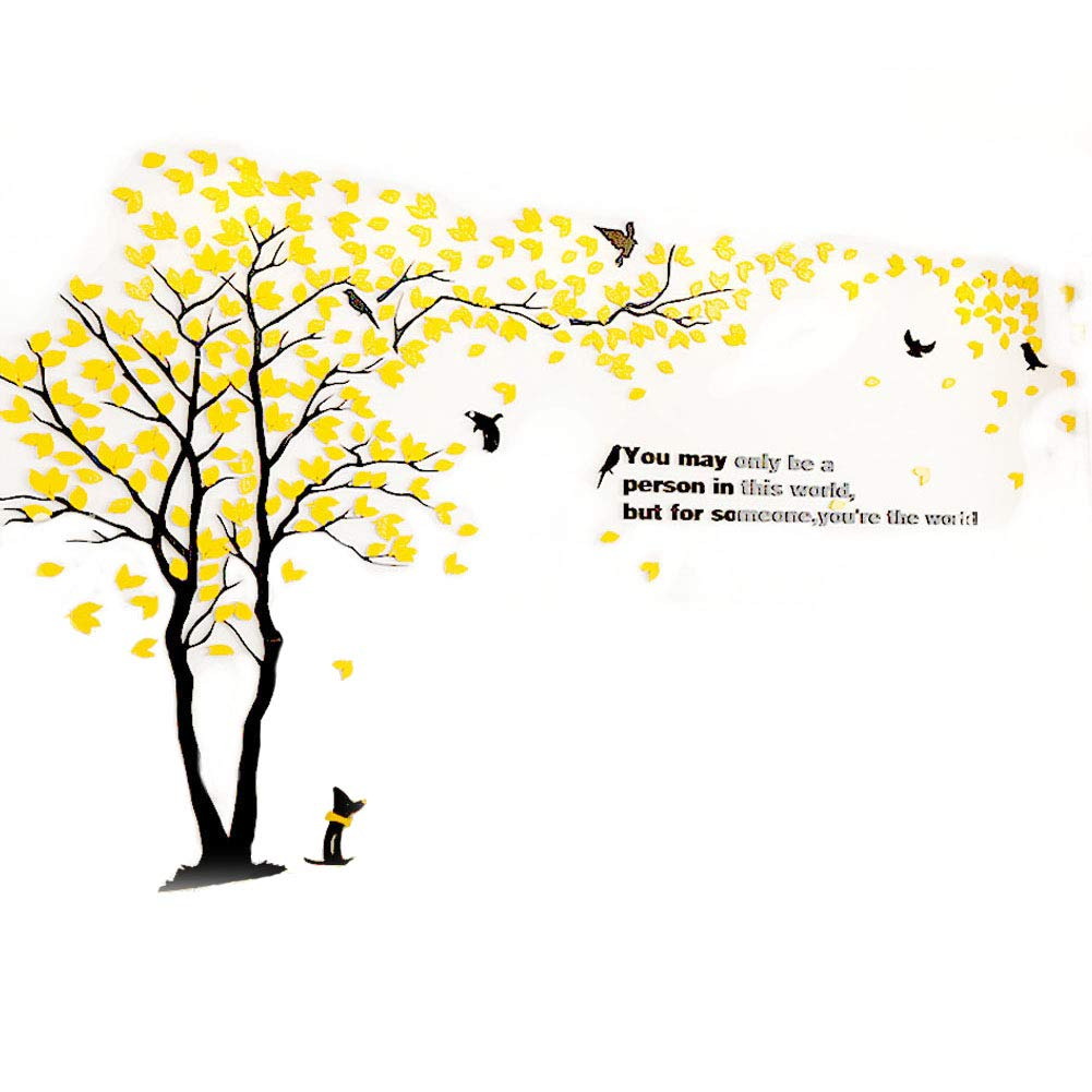 XMSJSIY 3D Wall Decals Tree Birds Wall Stickers Wall Murals Acrylic DIY Tv Setting Wall Sofa Backdrop for Home Decor Wall decor-79inch Tall(Large 3.5x2.0, Yellow)