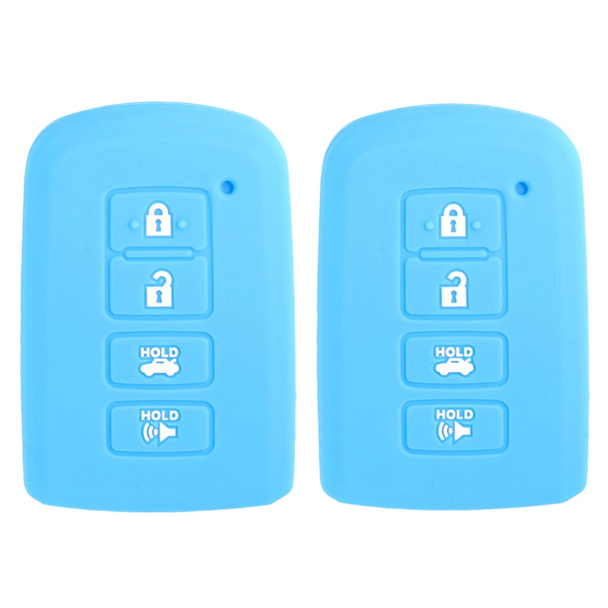 2Pcs WERFDSR Sillicone key fob Skin key Cover Keyless Entry smart Remote Case Protector Shell for 2012 2013 2014 2015 2016 TOYOTA Avalon Camry Corolla Highlander RAV4 Black Blue