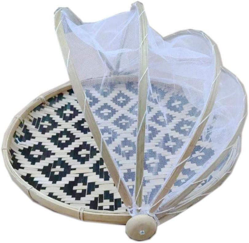 Whewer Hand-Woven Food Serving Tent Basket, Covered Bamboo Serving Food Tent Basket, Outdoor Picnic Food Cover Mesh Tent Basket with Gauze