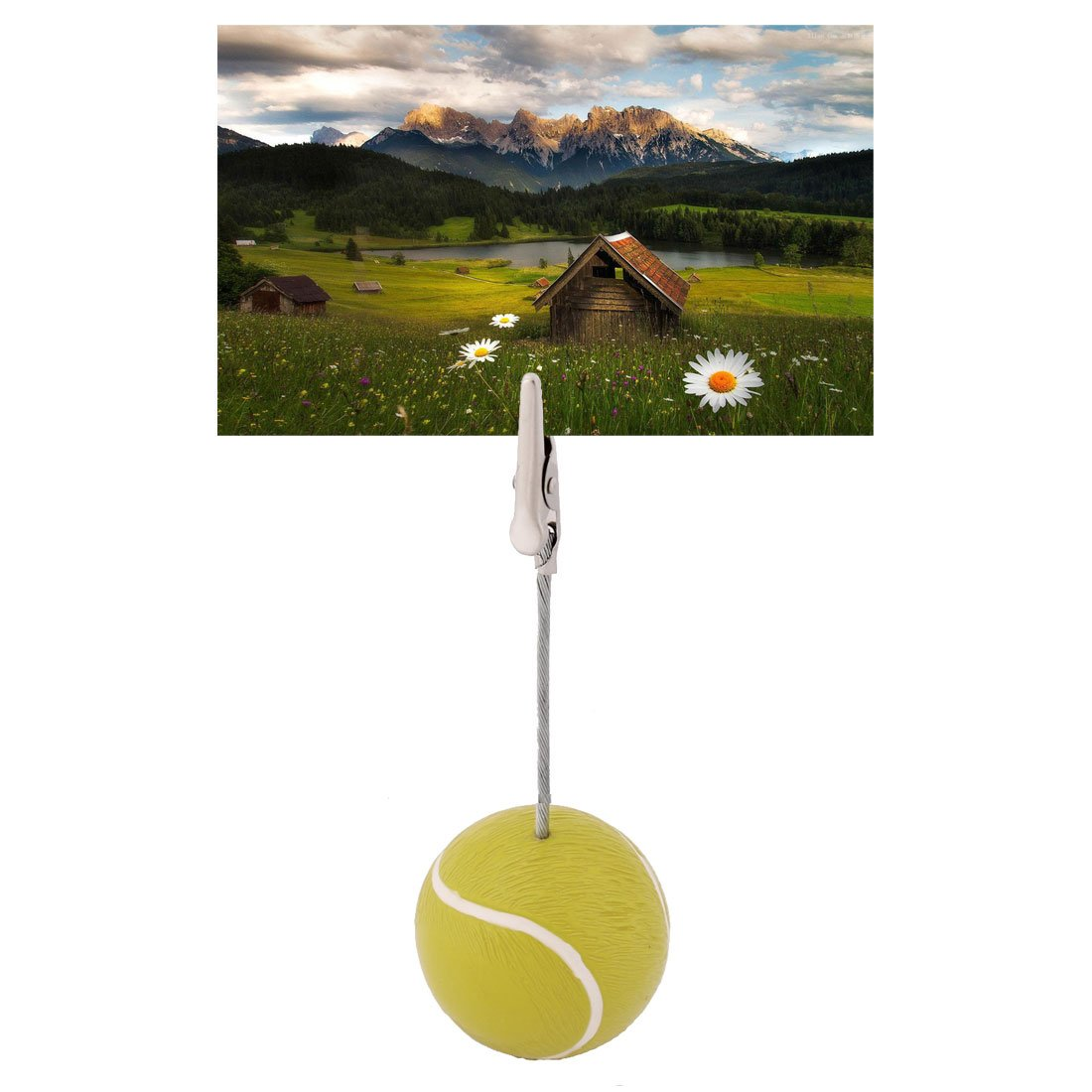 uxcell Resin Home Tennis Ball Shaped Tabletop Decoration Note Paper Memo Clip 10 Pcs