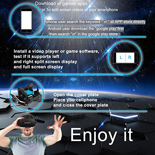 ATXXY VR Headset with Remote Controller 3D VR Glasses Virtual Reality Headset with Stereo Headphone and Adjustable Headstrap for 3D Movies & VR Games, Fit for 4.0-6.4 inch IOS/Android Smartphone by ATXXY (Image #5)