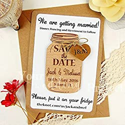 Save the Date Magnet, Mason Jar Save the Date, Wood Save the Dates, Wedding Invitation, Wedding Favors, Rustic Save the Date, Wooden Magnet (Set of 10)