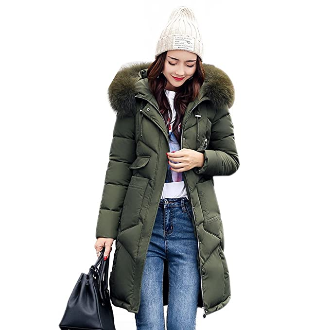 8166f54c7e6e0 Misschicy Womens Faux Fur Hooded Puffer Parka Ladies Winter Long Thick Down Coat  Quilted Jacket Plus Size  Amazon.co.uk  Clothing