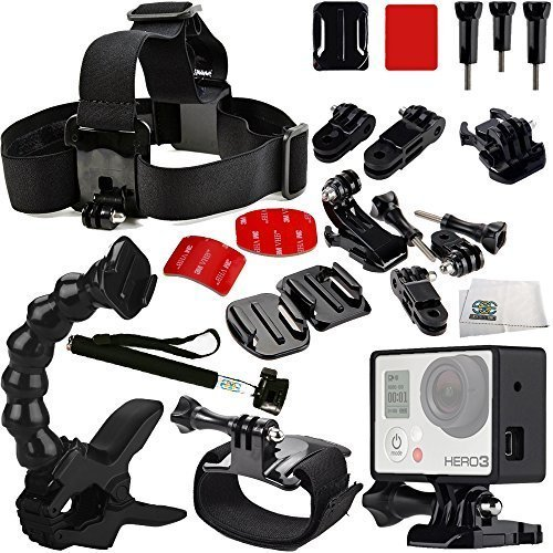 Rock Climbing Accessory Kit Includes Handheld Monopod + Curved Adhesive Helmet Side Mount Kit + Curved Adhesive Helmet Front Mount Kit + Jaws: Flex Clamp + Wrist Strap + Head Strap + Frame Mount Housing + Microfiber Cleaning Cloth for GoPro HERO+, HERO4 Session, HERO4, HERO3+, HERO3 (Black, Silver & White), HERO & HERO+ LCD (Cloth Dryer Rock compare prices)