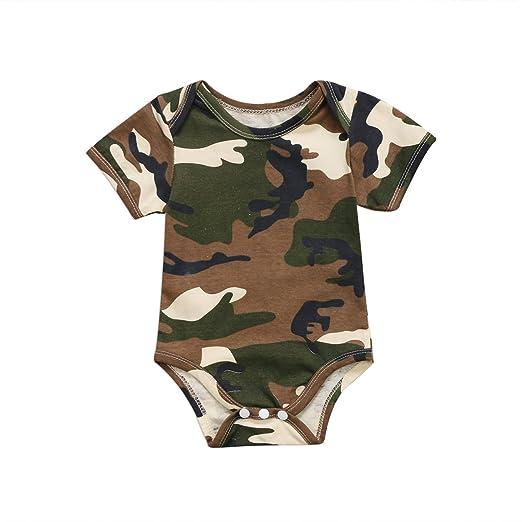 16fb78faa1d1 Amazon.com  ITFABS Newborn Baby Boy Girl Camouflage Romper Short ...
