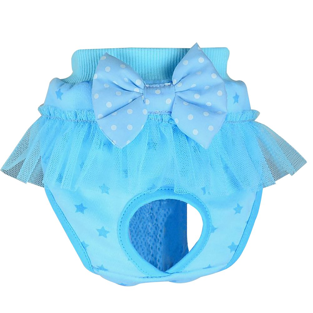 Balai Pet Apparel Reusable Female Dog Diapers Puppy Sanitary Pants Washable Short Panty Underwear for Girl Dogs Pink L