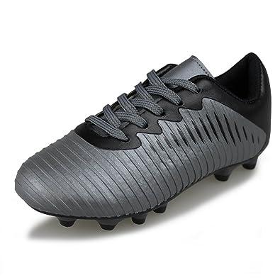 fc2acb31b17a Amazon.com | Hawkwell Comfortable Soccer Shoes(Toddler/Little Kid/Big Kid),  dk Grey Black PU, 12 M US | Soccer