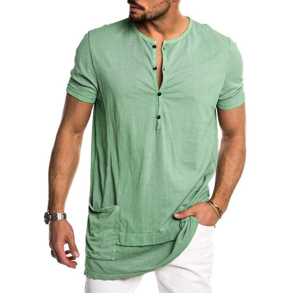 MOMKER Mens Summer Fashion Personality Pocket Short Sleeves Pure Color Top