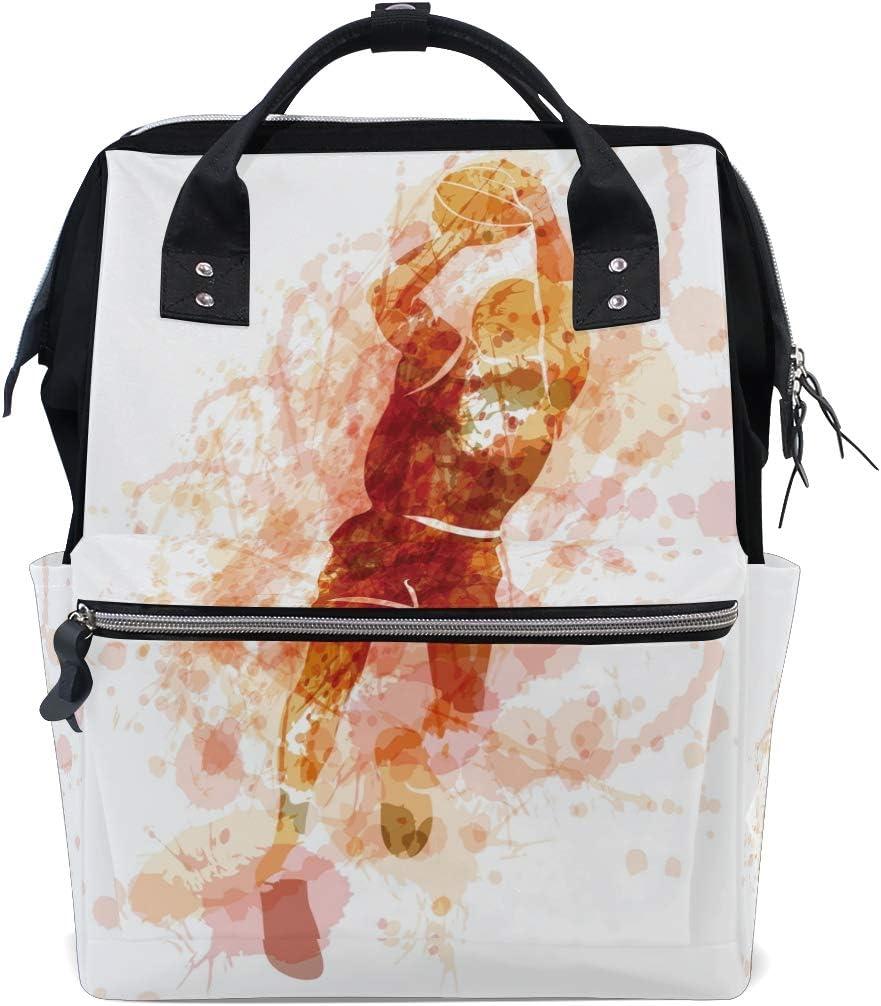 Bardic Baloncesto Jugador Pintura Bebé Cambiador Impermeable Bolsa de Pañales Bolsas de Gran Capacidad Bolsa de Viaje Impermeable Bolsa de Pañales para Mujer para Hombres