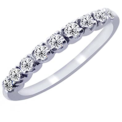 pave diamond wedding band ring 10k white gold 45 15cttw - Wedding Band Ring