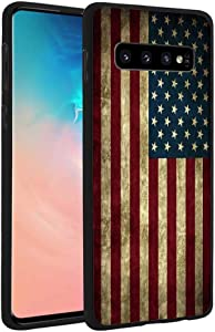 BWOOLL Galaxy S10 Case, Slim Anti-Scratch Shockproof Leather Grain TPU Rubber Protective Cose Cover for Samsung Galaxy S10 (2019) 6.1 inch - Vintage USA American Flag