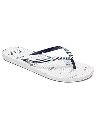 3a2f922b5dce Amazon.com  Roxy Portofino Flip Flops - White Blue UK 5  Clothing