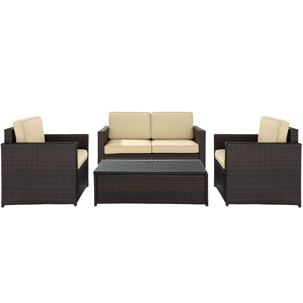 amazoncom crosley furniture palm harbor 4piece outdoor wicker seating set brown patio lawn u0026 garden