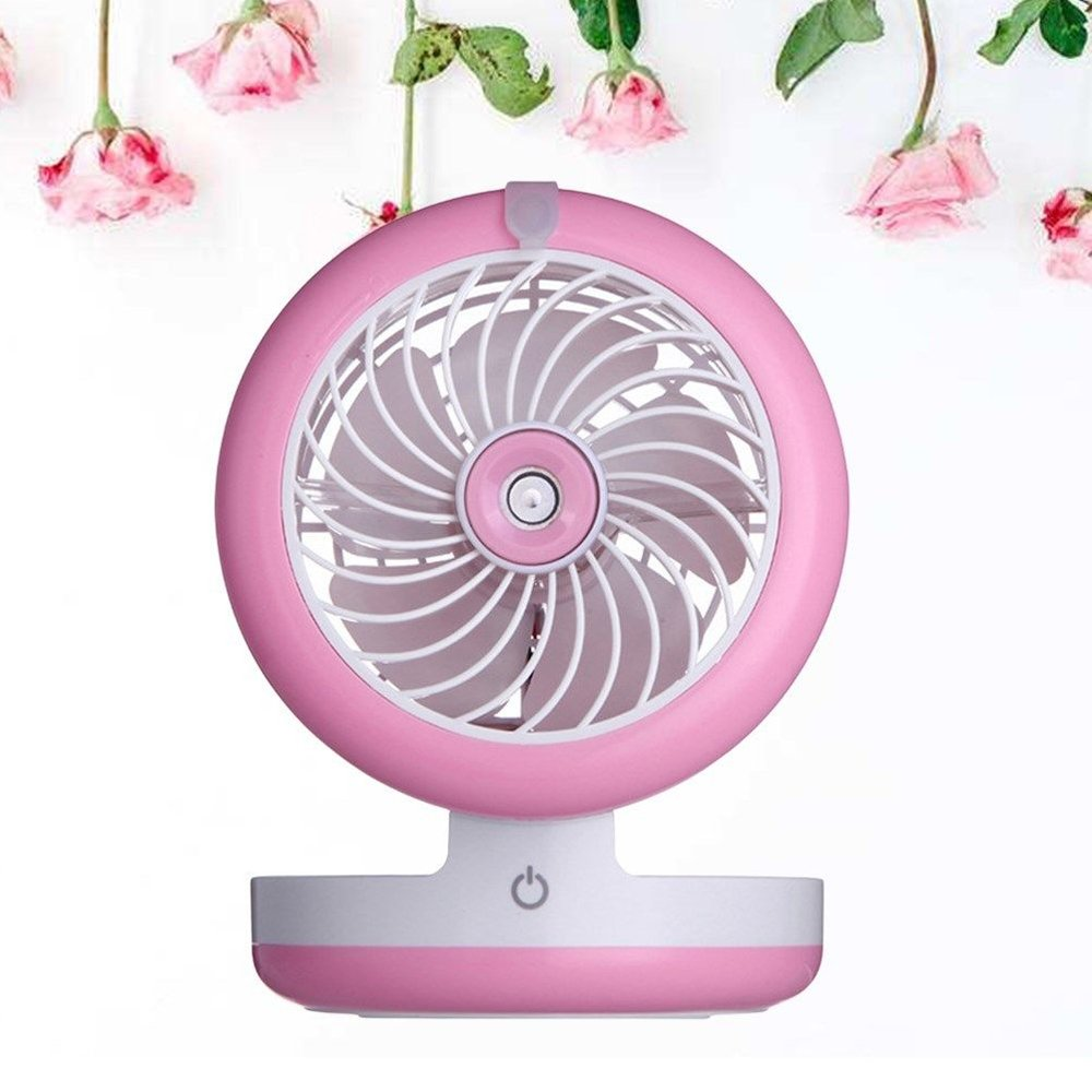 elecfan Air Conditioning Sprayer Fan, Mini Foldable Humidifier USB Fan, Angle Adjustable,Portable 2000mA Power Bank, Rechargeable Desktop Cooling Misting Fan - Pink by elecfan