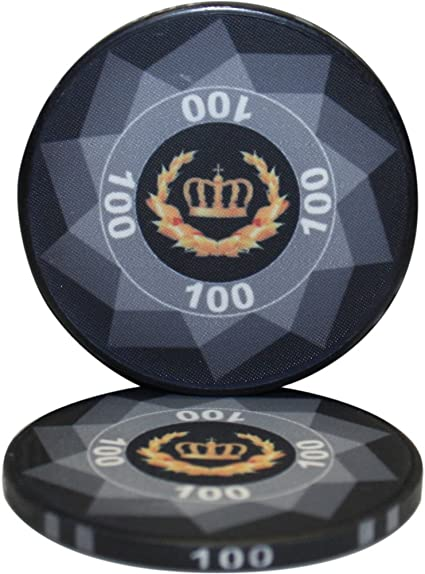 Amazon Com Mrc Laurel Crown Ceramic Poker Chips Pack Of 50 Black 100 Sports Outdoors