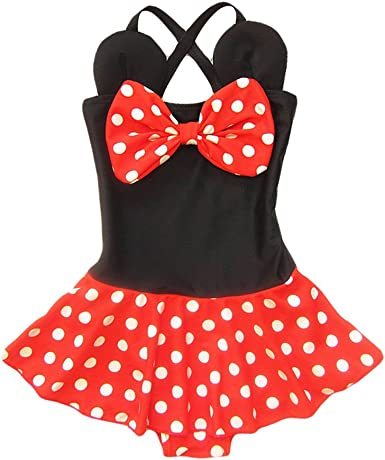 Cap Toddler Baby Kids Girls Minnie Mouse Bikini Skirt Summer Swimwear Swimsuit