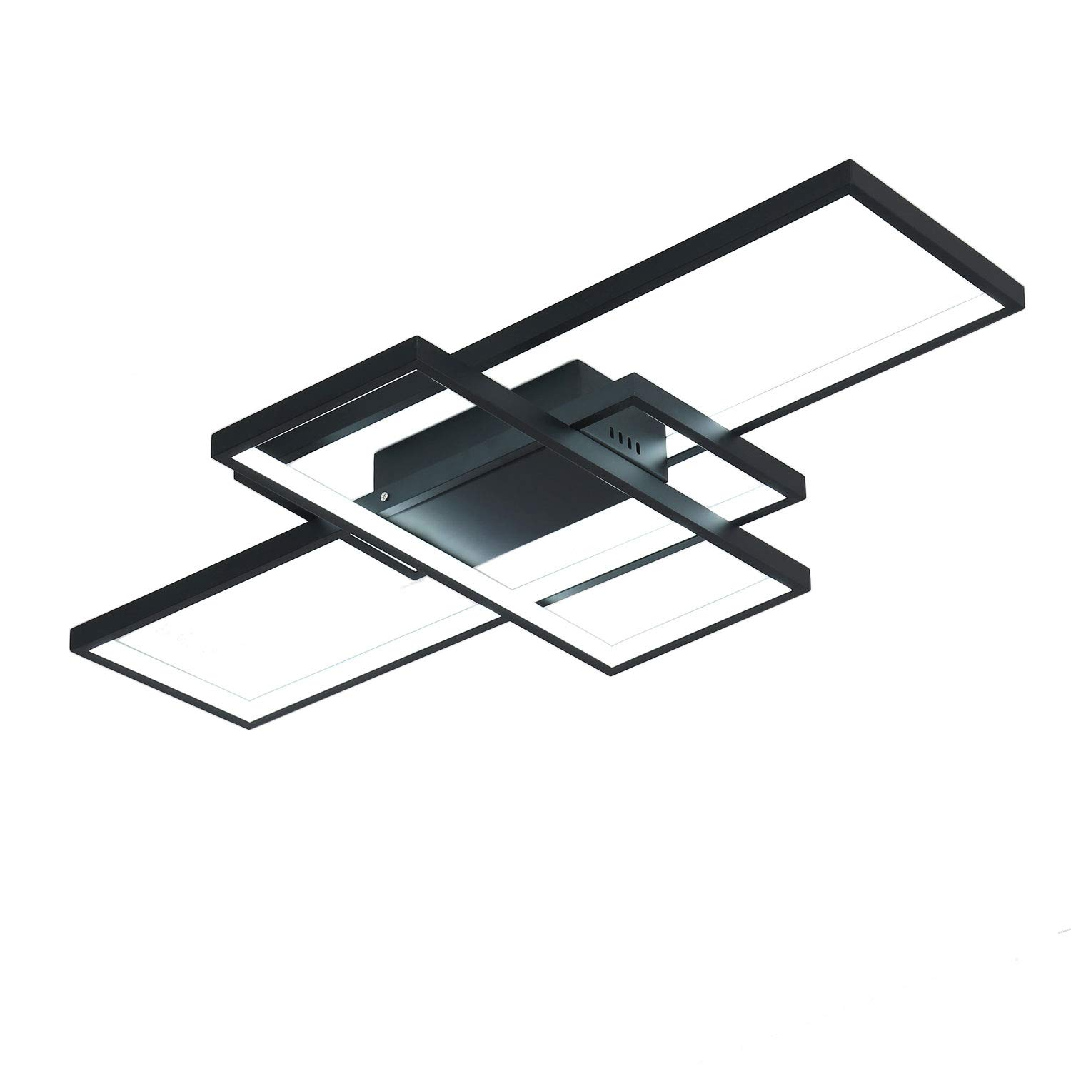 Unitary Brand Modern Metal and Black Acrylic Remote Control Nature White and Warm White Dimmable Geometric Modeling Design Kitchen LED Flush Mount Ceiling Light Max 42W Painted Finish