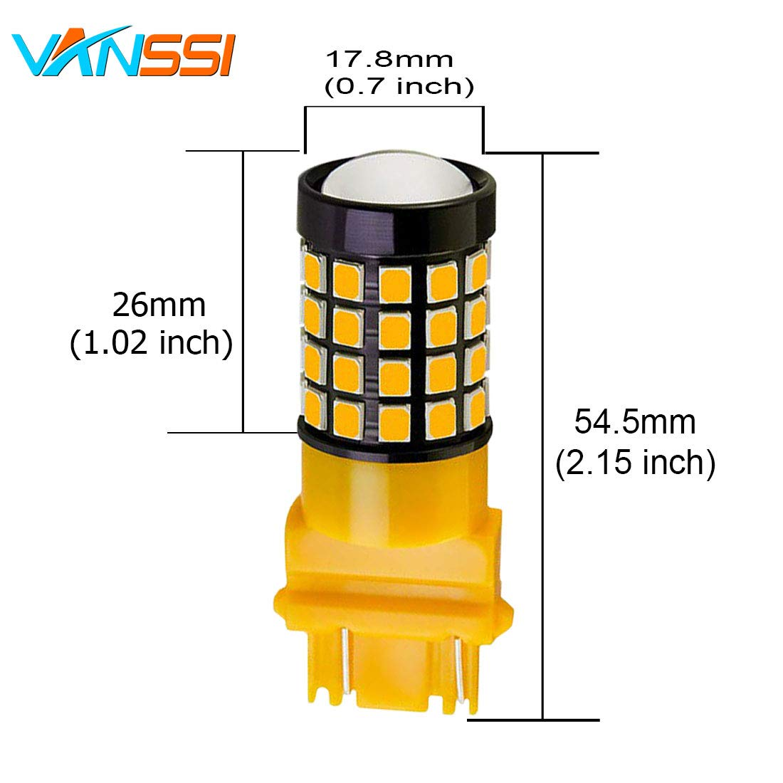 VANSSI 3157 LED Bulbs Extremely Bright 1600 Lumens 52-SMD LED 3056 3156 3057 4057 3457 4157 3157NA LED Bulbs with Projector for Backup Reverse Lights Tail Signal Lights,Amber Yellow Pack of 2