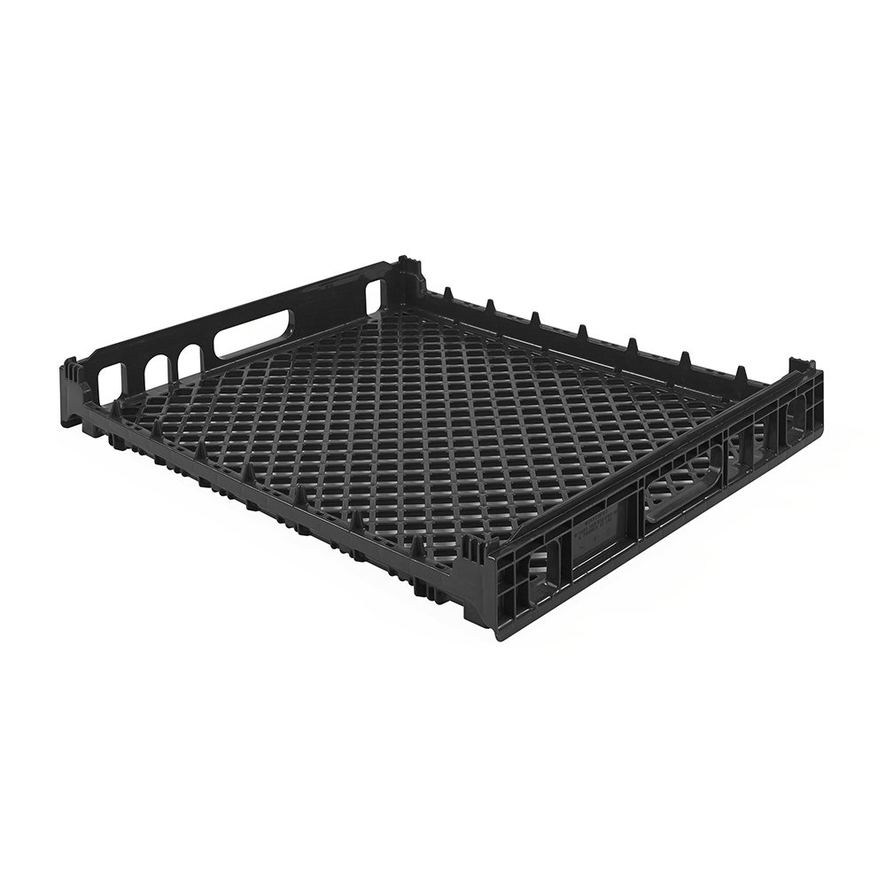 Plastic Bakery Trays - 26'' x 22'' Black Single Bun Basket with Foot Insert (1 Tray)