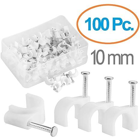 MutecPower 10mm Abrazaderas para Cables con Tornillo Incorporado en Blanco: Amazon.es: Electrónica