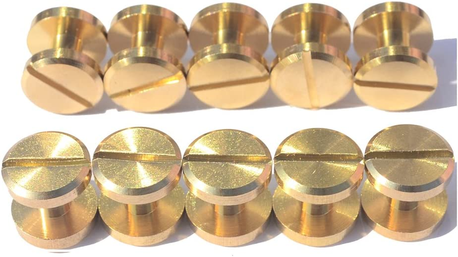 0.237 inch DGOL 12 Pairs Brass Backscrews with Hole Punch Golden Leather Fasteners Sturdy Binding Rivets Belt Strap Collar Back Screws Length