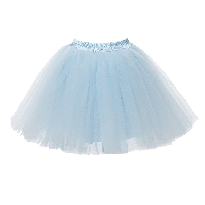 d96ea9b785 Amazon.com: PerfectDay Women's Mini Tutu Ballet Multi-layer Ruffle Frilly  Petticoat Skirt Baby Blue: Clothing