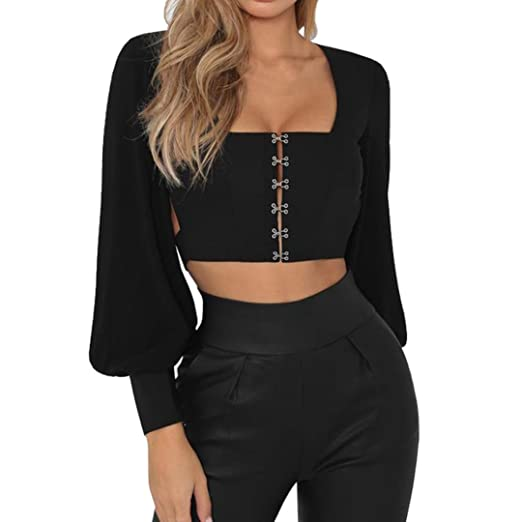 ca7d7c5cd6 Kanzd Fashion Women Long Lantern Sleeve Solid Bandage Backless Sexy Bow  Blouse Top T-Shirts