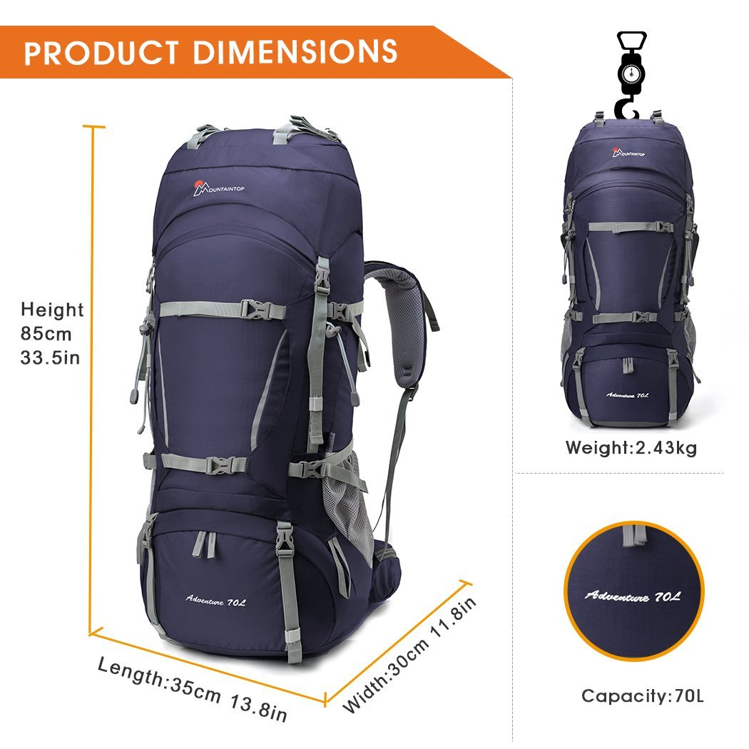 Amazon.com   MOUNTAINTOP 65L+10L Internal Frame Hiking Backpack with Rain  Cover   Sports   Outdoors 82c9e4bb33c2d