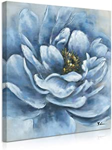 Blue Flowers Wall Decor: Peony Wall Art Blue Flower Blossom Floral Pictures Wall Decor Canvas Floral Wall Art Wall Pictures for Living Room Blue with Frame and Easy to Hang (12