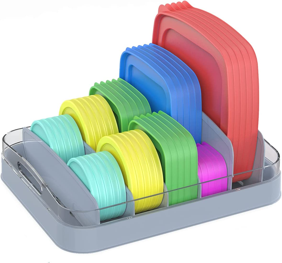 EVERIE Food Container Lid Organizer Compatible with 12'' Deep Cabinets, GS01 (Gray)