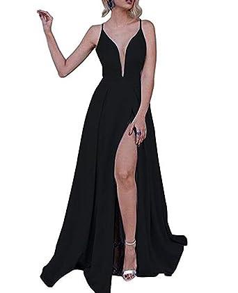 tutu.vivi Womens Sexy Deep V-Neck Prom Party Dresses Satin Long Evening Gowns
