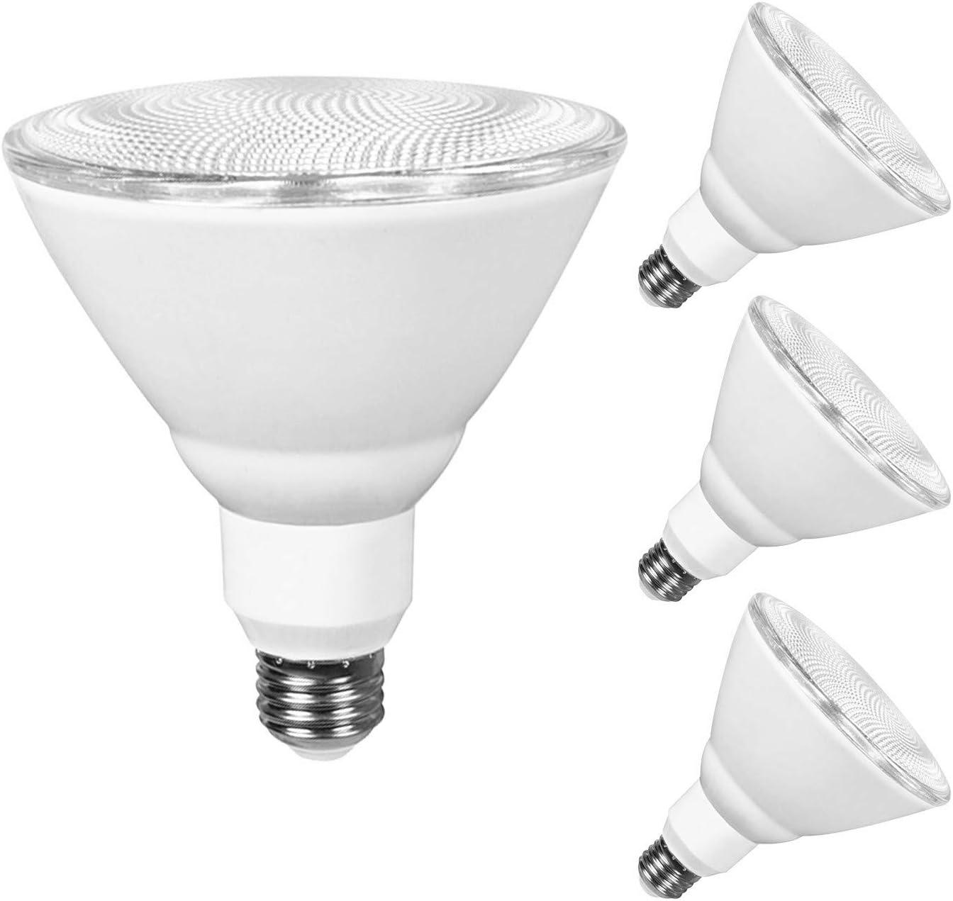 JULLISON 4 Packs PAR38 LED Bulb, 120V/13W/980Lumens/40 Degrees Beam, 90W Equivalent, 4000K Cool White, CRI80+, dimmable, True Look, Outdoor Flood, E26 Base, UL & Energy Star & FCC Listed,Wet Location