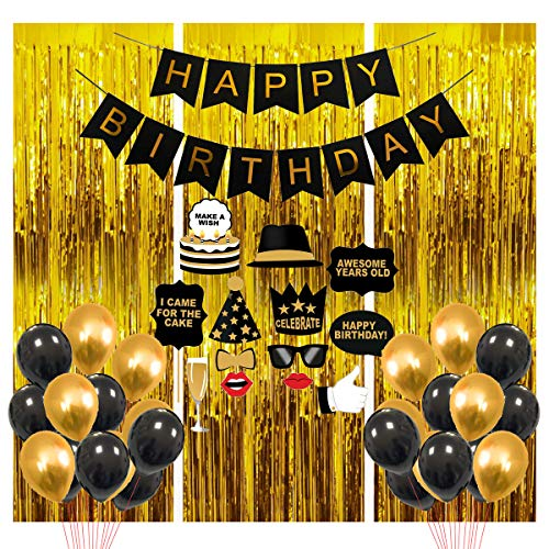 Party Propz Happy Birthday Decoration Items – 41Pcs for Black, Golden Balloons Banners Foil Curtain Photo Booth Props/ Birth Day. decerations/ Decorations Items for Room/ Balloons for Decoration