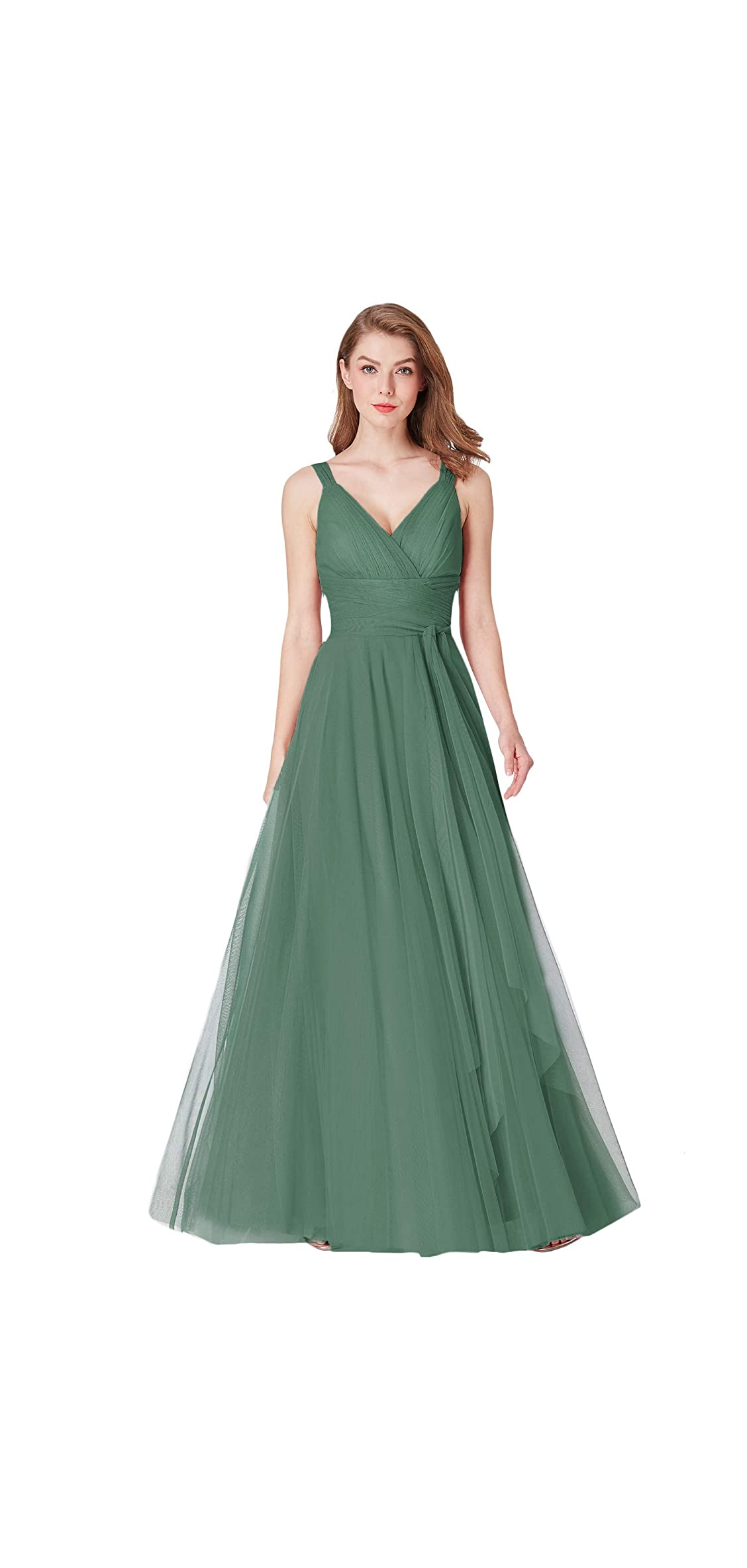 Women's Elegant V Neck Floor Length A Line Empire