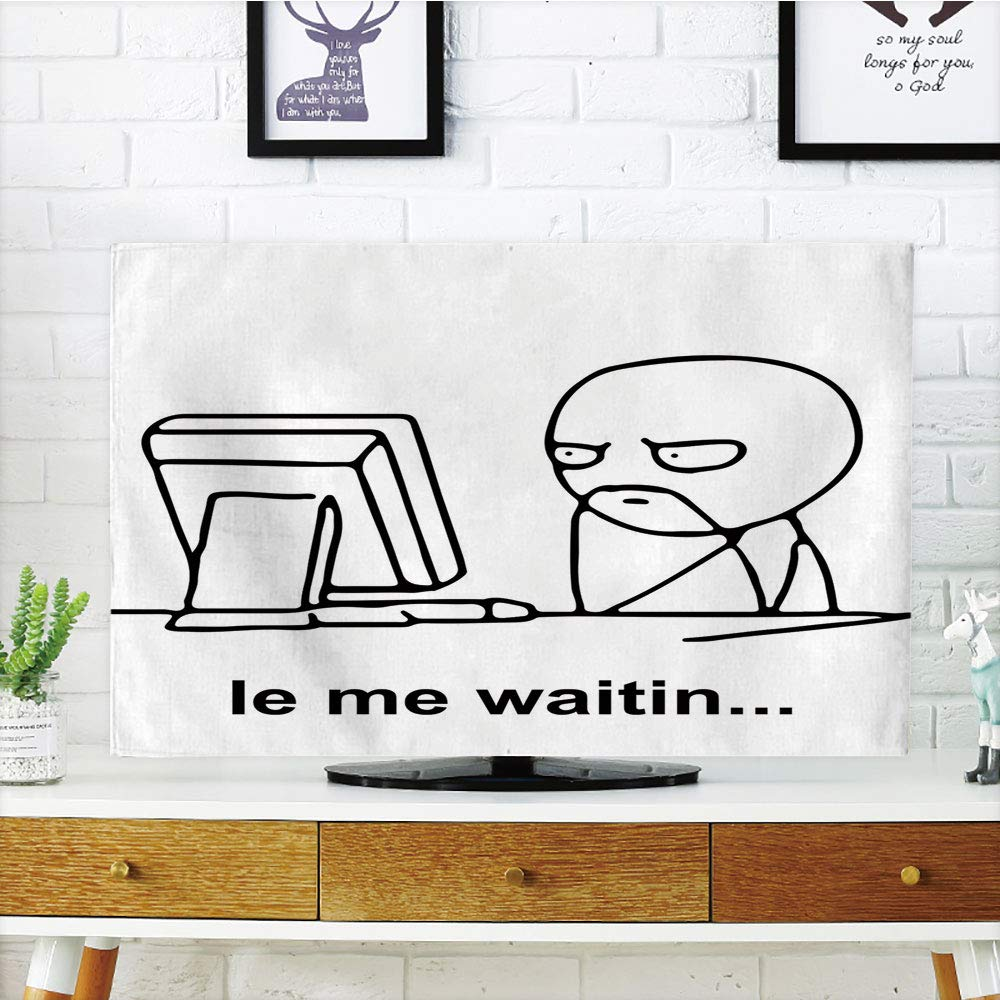iPrint LCD TV Cover Lovely,Humor Decor,Stickman Meme Face Icon Looking at Computer Joyful Fun Caricature Comic Design,Black White,Diversified Design Compatible 50''/52'' TV