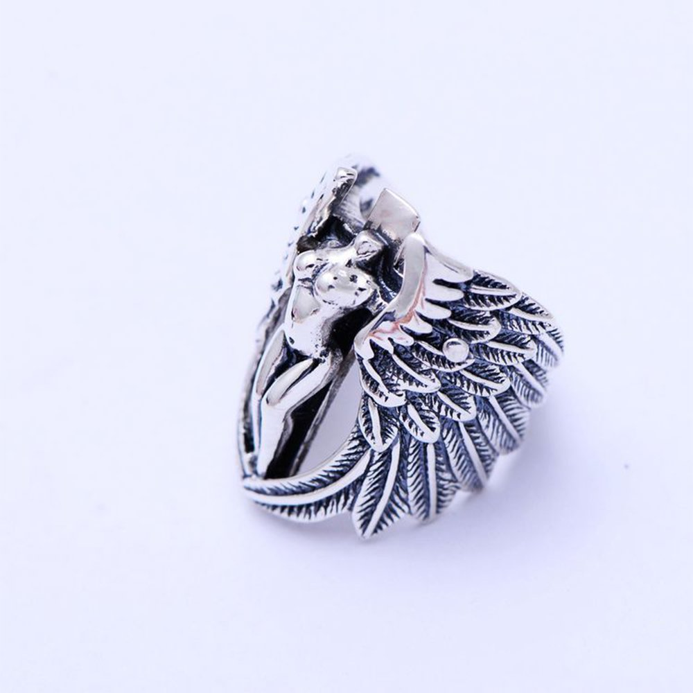 MetJakt Vintage Holy Headless Guardian Angel Ring Solid 925 Sterling Silver Ring for Men Punk Rock Jewelry