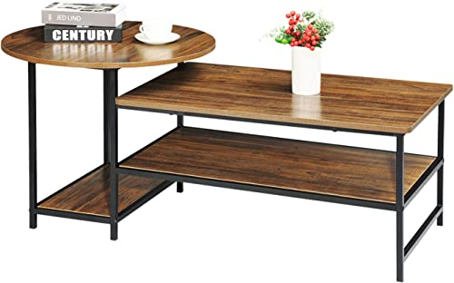 WOHOMO Coffee Table Round Coffee Table and Rectangular Coffee Table 2