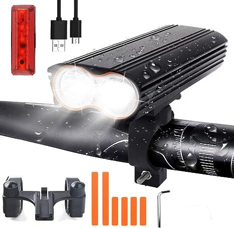 LED Luz Bicicleta, Juego de luces recargables USB para bicicleta con 4 modos de luz, 1200