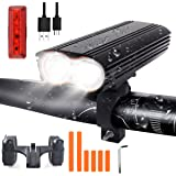 LED Bike Light Set, USB Rechargeable Bike Light Set with 4 Light Modes, 1200 Lumen Dual LED Light Beads Mountain Bike Light, IP65 Waterproof Bicycle Light Set for Night Rider, Cycling and Camping