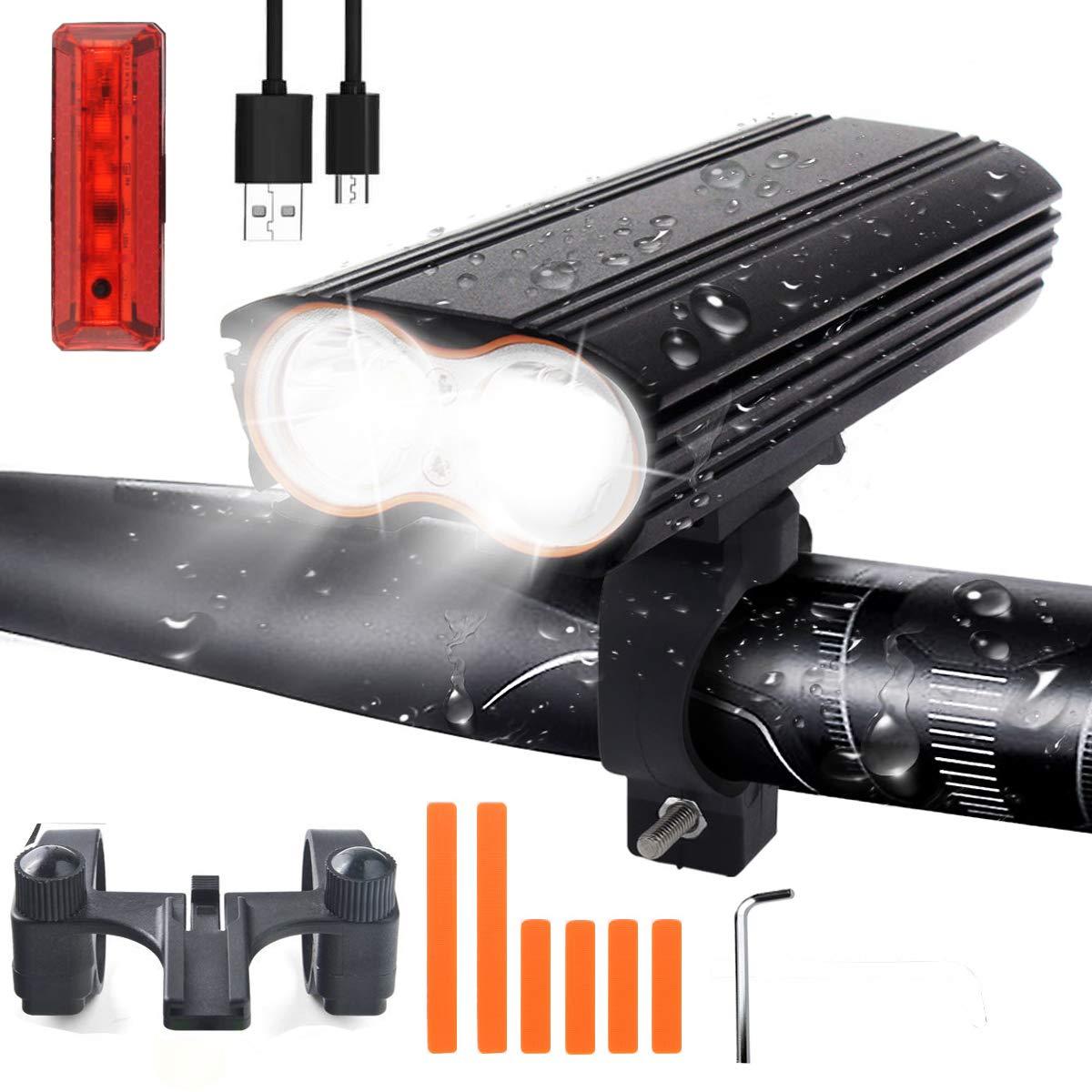 LED Bike Light Set, USB Rechargeable Bike Light Set with 4 Light Modes, 1200 Lumen Dual LED Light Beads Mountain Bike Light, IP65 Waterproof Bicycle Light Set for Night Rider, Cycling and Camping VISLAN