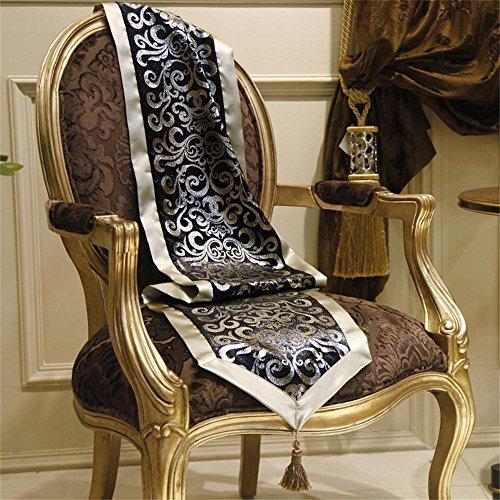 ALUK- Europäische modernen minimalistischen Luxus-Mode Samt Bronzieren Teetisch Esstisch Ammer (schwarz) ( größe : 35cm*250cm )