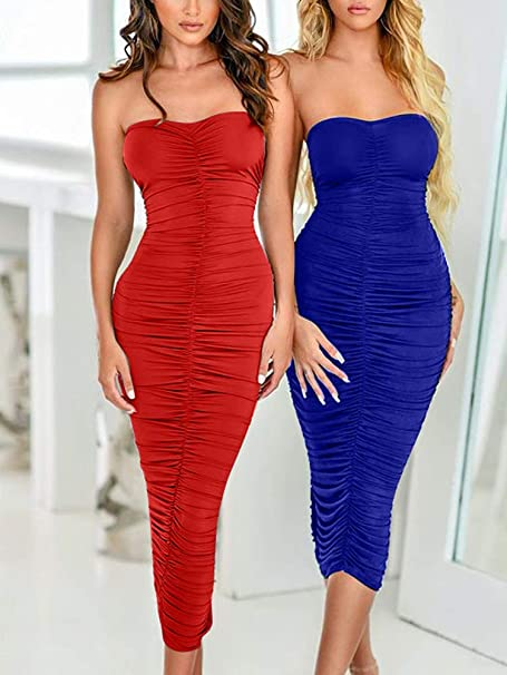 Women's Sexy Ruched Strapless Bodycon Tube Maxi Long Club Dress