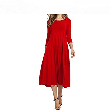 77f5459fd7c Image Unavailable. Image not available for. Color  Baqijian Plus Size S-3Xl  Women Casual Dress Spring Summer ...