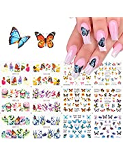 Macute 12 Design Butterfly Nail Art Stickers Polish Sliders Flowers Full Cover Nail Water Transfer Decals Tattoo Foils for Women Fingernails Toenails Decor Manicure Tips Wraps Beauty Decorations