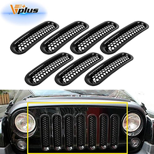 Vplus Jeep Grille Jeep Wrangler Mesh Grill Insert Jeep Grille Guard Front jk Grille Inserts For 2007-2016 (7PCS)