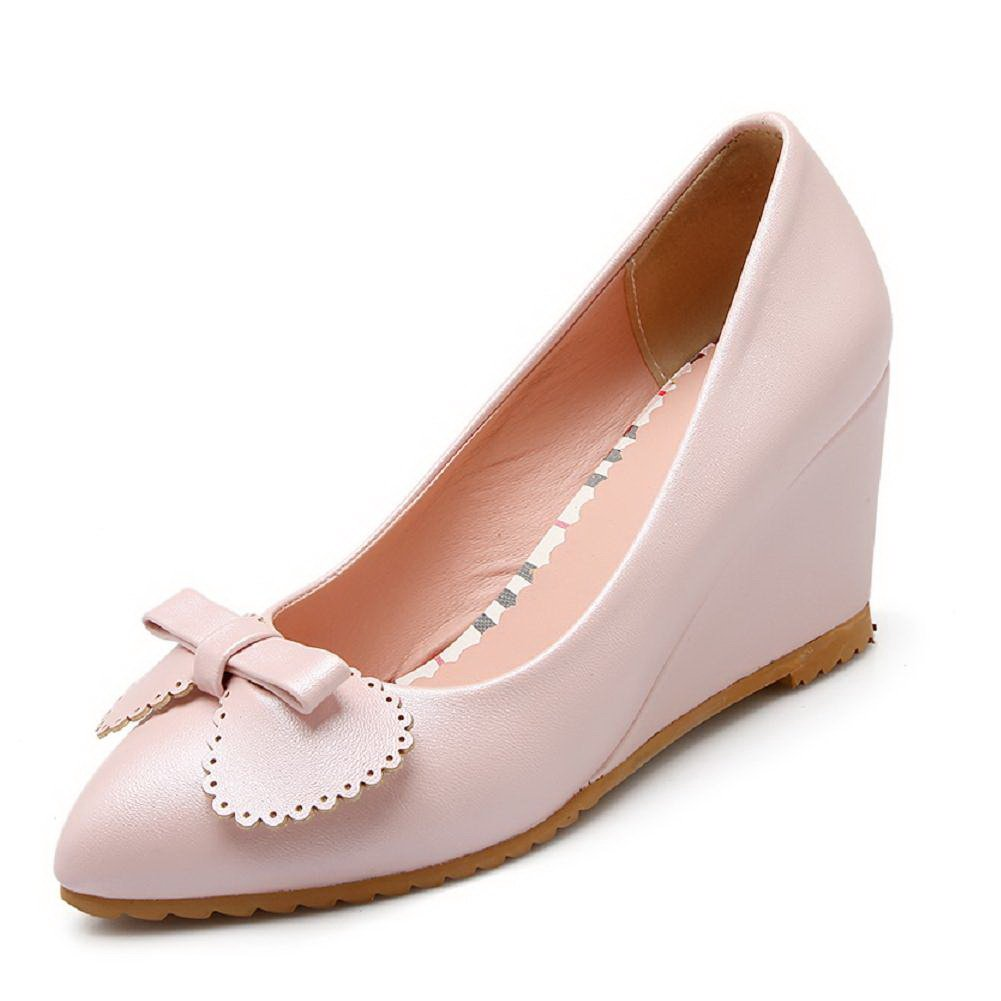 WeenFashion Women's Pointed Closed Toe Pull-on PU Solid High-Heels Pumps-Shoes, Pink, 34