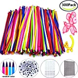 Magic Balloons Kits, 300Pack Animal Ballooons Latex Modeling Twisting Balloons Long Balloons For Animal Shape Party Decoration(With Pump& Eye Sticker&Wiggle Eyes)