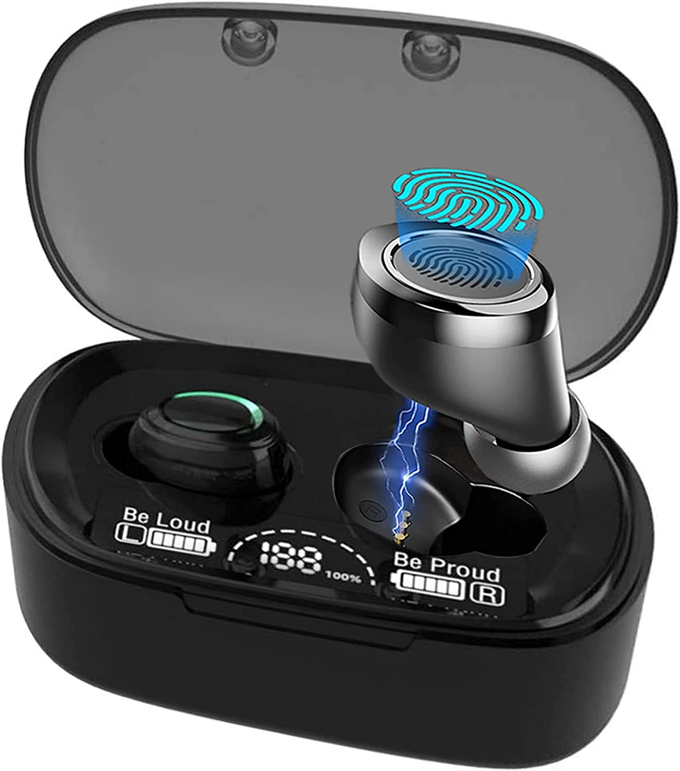 Wireless V5.1 PRO Earbuds Works for Acer Liquid Zest Plus IPX3 Bluetooth Touch Waterproof/Sweatproof/Noise Reduction with Mic (Black)
